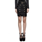 Ladies Womens Punk Rock Waist Buckle Front Buttons Knee Length Gothic Military Style Mini Skirt